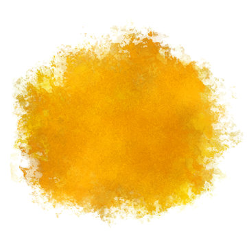 Watercolor yellow paint stain