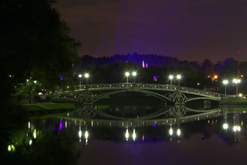 Night illumination at Tsaritsyno Park, Moscow