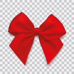 Realistic red bow on isolated background - stock vector.