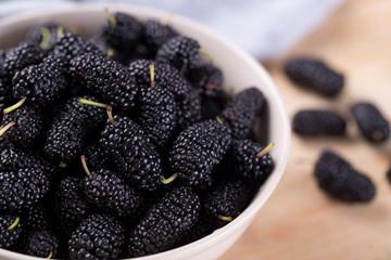 Closeup of fresh blackberries