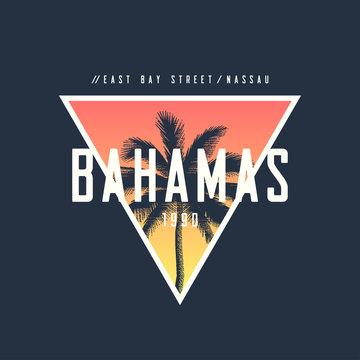 Bahamas Nassau t-shirt and apparel design with rough palm tree,