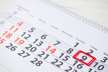 Dentists Day. February 9 mark on the calendar, close-up