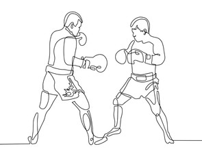 continuous one line drawing two boxers in the ring