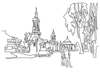 continuous one line drawing of historical town Kamenets-Podolsky