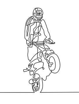 continuous one line drawing of a sportsman on a motorcycle