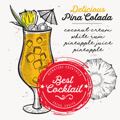 Cocktail pina colada for bar menu. Vector drink flyer for restaurant and cafe. Design poster with vintage hand-drawn illustrations.