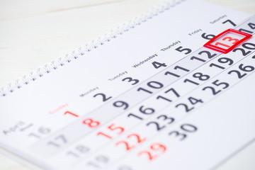 13 April mark on the calendar, close-up