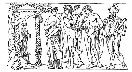 Greek mythology - Iphigenia as a priestess of Artemis in Tauris sets out to greet prisoners - Orestes and his friend Pylades