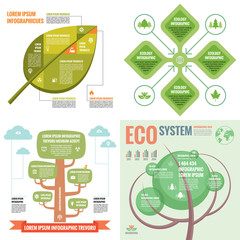 Business infographic templates concept vector illustration. Abstract banner set. Advertising promotion layout collection for presentation. Ecology & nature. Green tree. Graphic design elements.