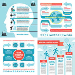 Business infographic templates concept vector illustration. Abstract banner set. Advertising promotion layout collection for presentation. Human head. Numbered step options. Graphic design elements.