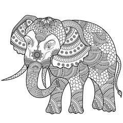 Elephant illustration, coloring doodle.