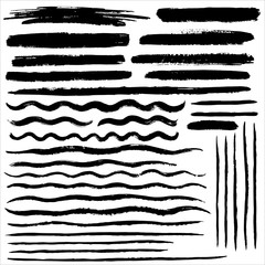 Set of various vector brush strokes. Wide and thin lines of different length, waves, stripes, streaks, bars, text background or underline with rough edges. Collection of hand drawn graphic elements.
