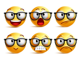 Smiley face vector set of yellow nerd emoticons with eyeglasses and funny facial expressions isolated in white background. Vector illustration.