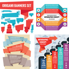 Business infographic templates concept vector illustration. Abstract banner set. Advertising promotion layout collection for presentation. Origami. Numbered step options. Graphic design elements.