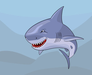 Cartoon comic shark with malignant smile