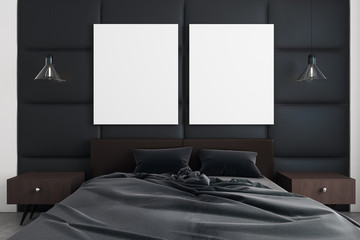 Modern bedroom with banner