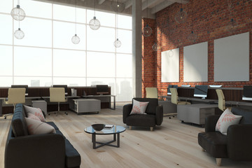 Modern brick coworking interior with banners
