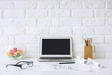 Modern designer desktop closeup