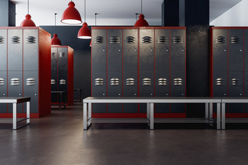 American locker room interior