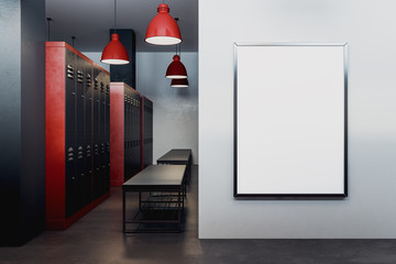 Modern locker room with empty poster