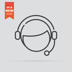 Customer support icon in flat style isolated on grey background.