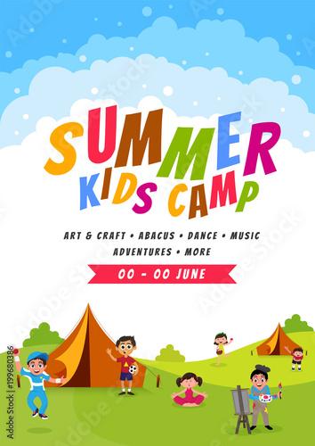 summer camp poster flyer or banner design fotolia com の ストック