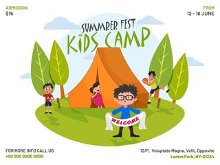 Summer camp poster, flyer or banner design.