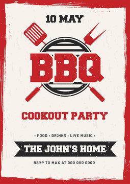 Barbecue Poster, Flyer, Template or Invitation Design.