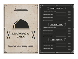 Creative Restaurant Menu Card design with front and back page view.