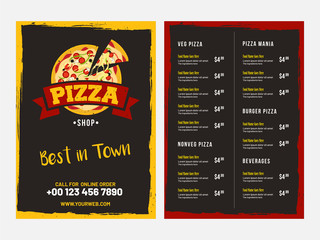 Pizza Menu Card design with front and back page view.