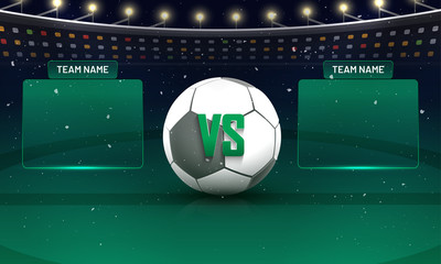 Soccer championship league, match between Team A v/s Team B concept. Night stadium view.