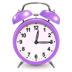 Alarm clock purple, vector icon design.