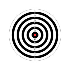 Score target for shooting practice on white