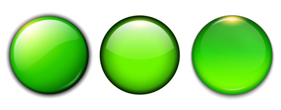 Green shiny buttons set, vector badges.