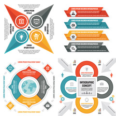 Business infographic templates concept vector illustration. Abstract banner set. Advertising promotion layout collection for presentation. Graphic design elements.