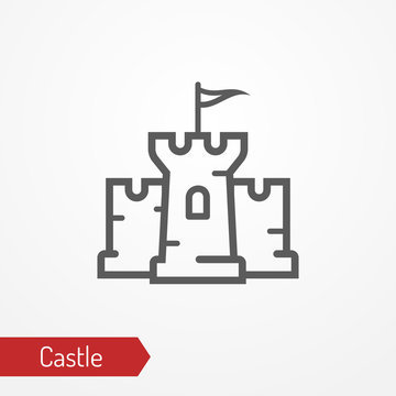 Abstract medieval castle with tower, walls and flag. Isolated icon in silhouette style. Typical medieval or fantastic stone fortress. Vector stock image.