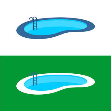 Swimming pool logo. Perspective pool illustration.