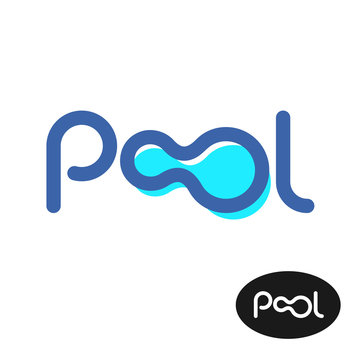 Pool word logo. Pool letters sign.