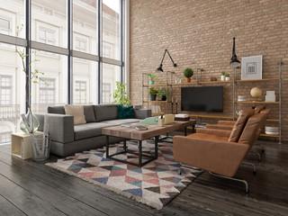 Loft style interior design 3D rendering