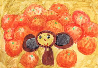The Cheburashka sits against the background of oranges. Children's drawing