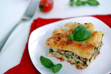 Lasagne with turkey and spinach