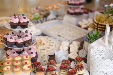 Delicious cupcakes with berries on a tiered cake-stand and a large assortment of sweets and cakes at a candy buffet catered for a birthday party, a wedding or other grand social event