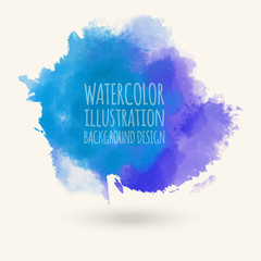 Blue watercolor hand drawn isolated vector wash spot on white.