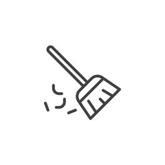 Sweeping broom outline icon. linear style sign for mobile concept and web design. Besom simple line vector icon. Symbol, logo illustration. Pixel perfect vector graphics