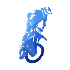 Freestyle motocross, fmx. Abstract blue geometric vector silhouette