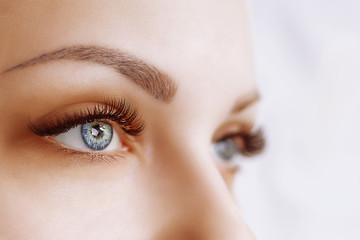 Eyelash Extension Procedure. Woman Eye with Long Eyelashes. Close up, selective focus.