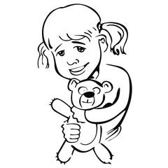 Fototapeta dziewczynka przytula pluszowego misia obraz