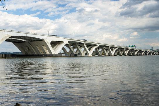 Highway Bridge across the Potomac River in Alexandria, VA, on an Autumn Day