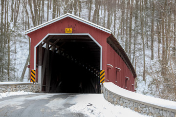 The Colemansville Covered Bridge in Winter