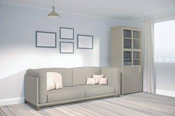 Modern living room with empty banner side